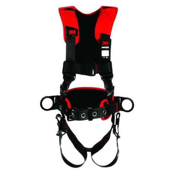 3M Protecta Full Body Harness,  Vest Style,  XL,  Polyester,  Black 1161207