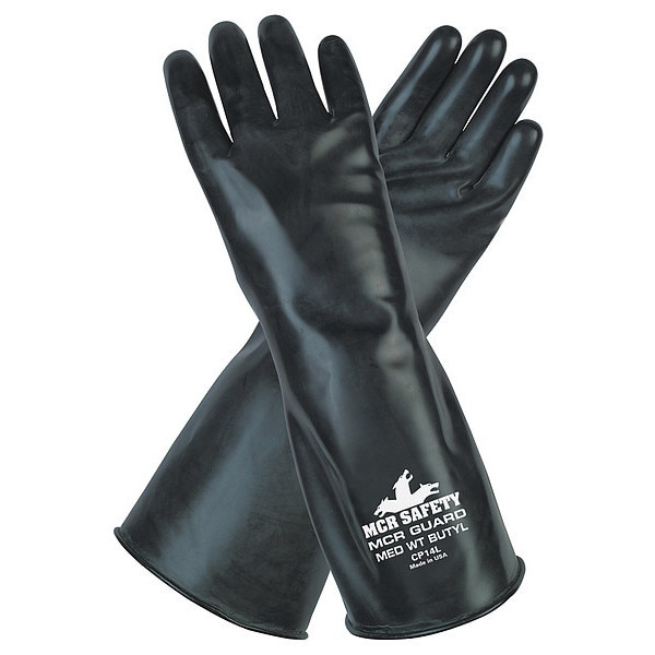 """Mcr Safety Chemical Resistant Gloves,  Butyl,  L,  14""""L CP14L"""