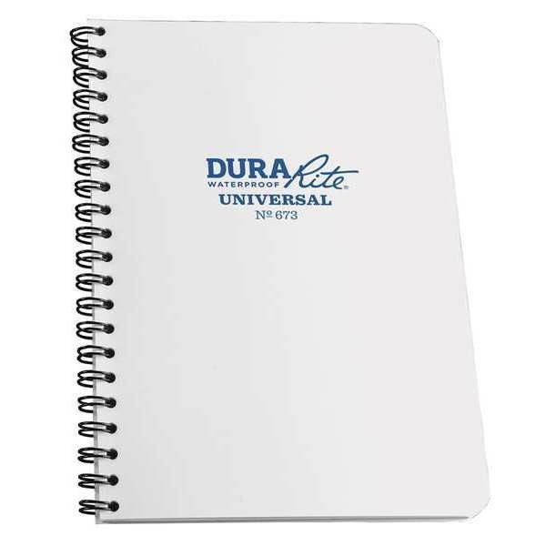 Rite In The Rain DuraRite Notebook, 32 Sheets, White Cover 673