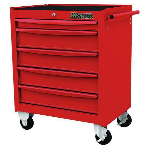 "Westward 26-5/8""W Rolling Cabinet 5 Drawers,  Red,  18-1/16""D x 28-1/2""H 48RJ74"