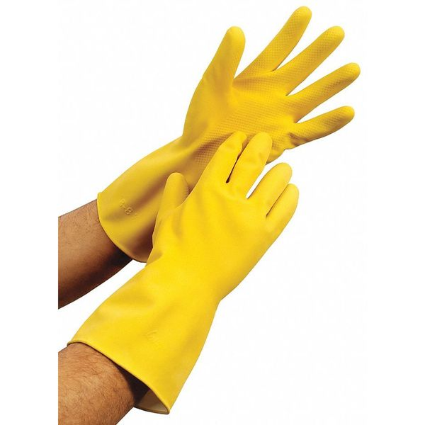 Condor Chemical Resistant Rubber Latex Gloves,  17 mil,  Size L,  Yellow 48UP18
