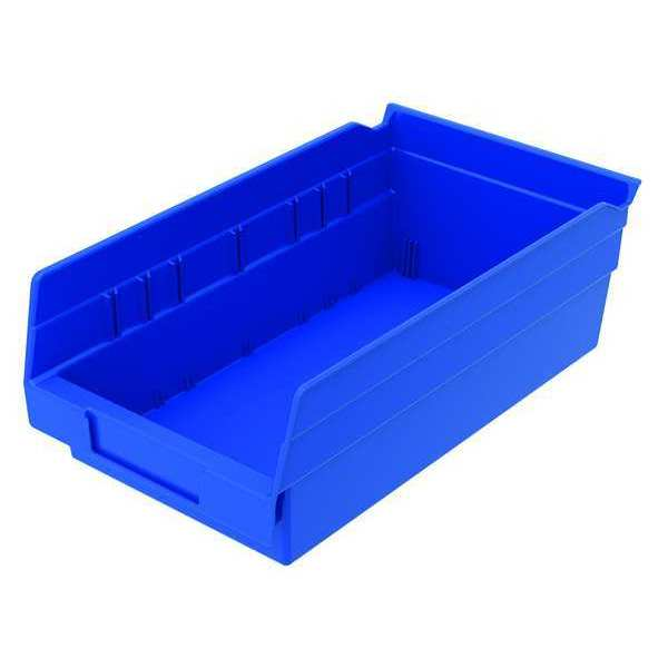 "Zoro Select Blue Shelf Bin,  11-5/8""L x 6-5/8""W x 4""H,  Outside Height: 4 in 30130BLUEBLANK"
