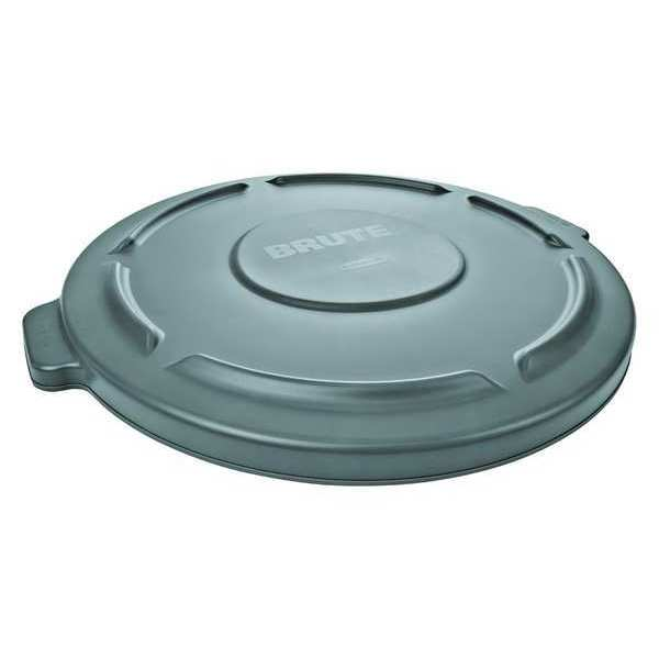 Rubbermaid Brute Trash Can Top, Flat, Snap-On Closure, Gray FG265400GRAY