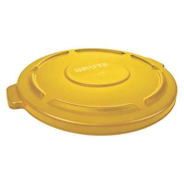 Rubbermaid Brute Trash Can Top, Flat, Snap-On Closure, Ylw FG265400YEL