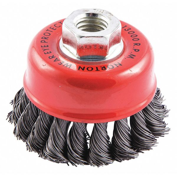 "Norton Cup Brush, Knotted, 3-1/2"" dia., Arbor Hole 66252838813"
