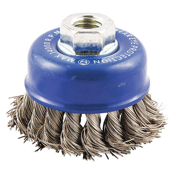 """Norton Cup Brush,  Knotted,  2-3/4"""" dia.,  Arbor Hole,  Wire Dia.: 0.02 in 66252838812"""