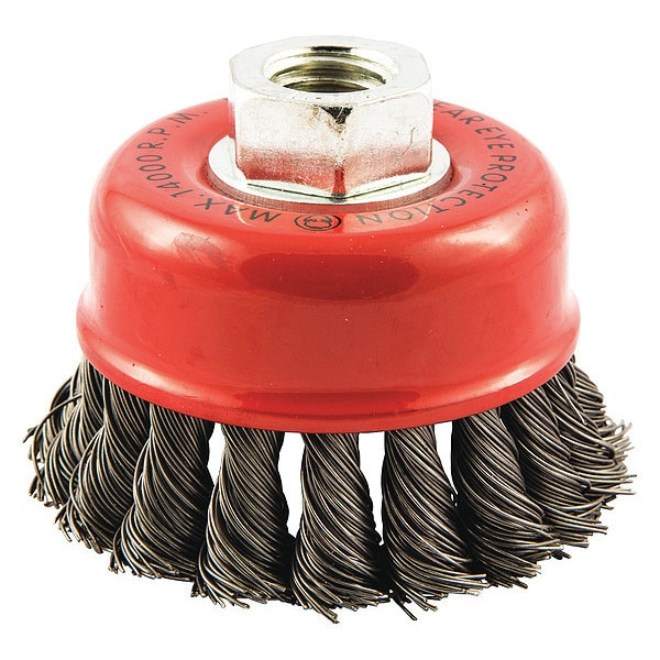 "Norton Cup Brush,  Knotted,  2-3/4"" dia.,  Arbor Hole,  Arbor Hole Size: 5/8""-11 66252839033"