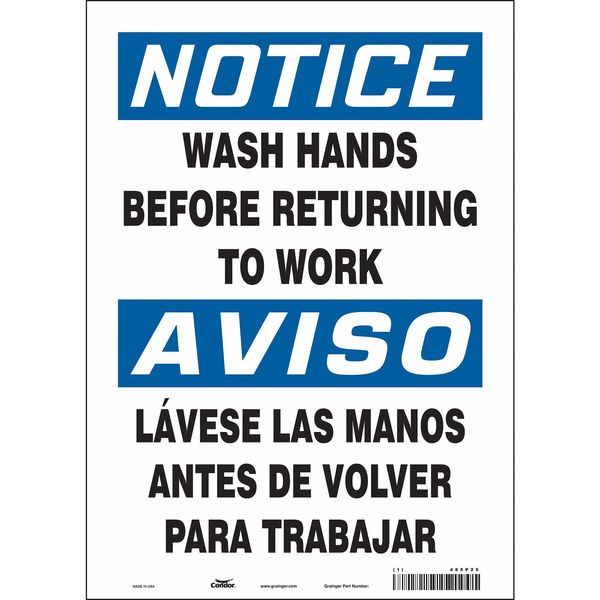"""Condor Safety Sign, 10"""" Wx14"""" H, 0.004"""" Thick 485P25"""