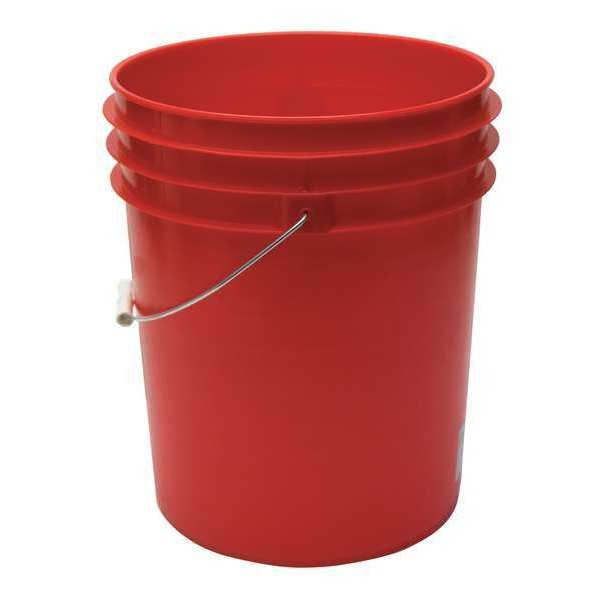 Zoro Select Pail,  5.0 gal.,  Open Head,  Red ROP2150R-M