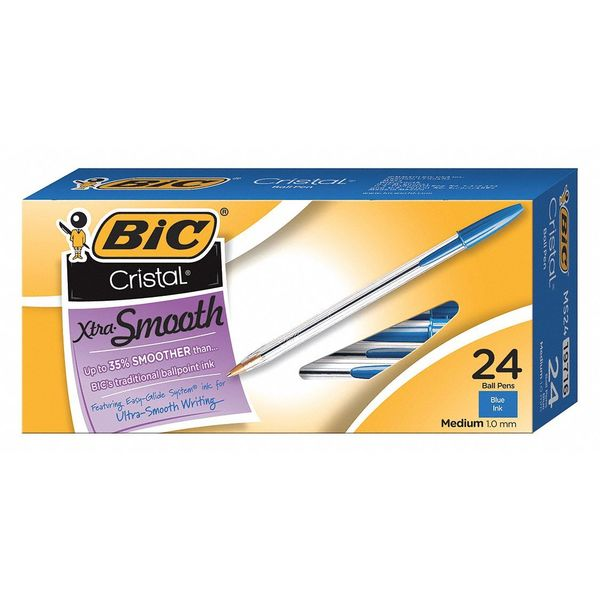 Bic Ballpoint Pen, 1.0 mm Point, Blue Ink, PK24 BICMS241BE