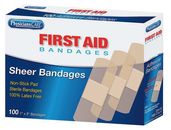 First Aid Only Adhesive Bandage,  Sheer,  Plastic,  1 in. 90331