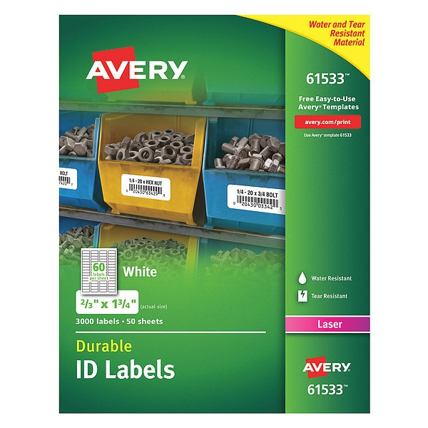 Avery Label, Id, W/Trublk, 60Up, Wh, PK3000 61533
