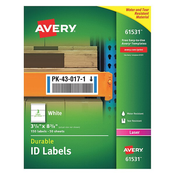 Avery Label, Id, W/Trueblk, 3Up, Wh, PK150 61531