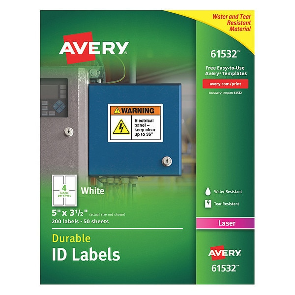 Avery Label, Id, W/Trueblk, 4Up, Wh, PK200 61532