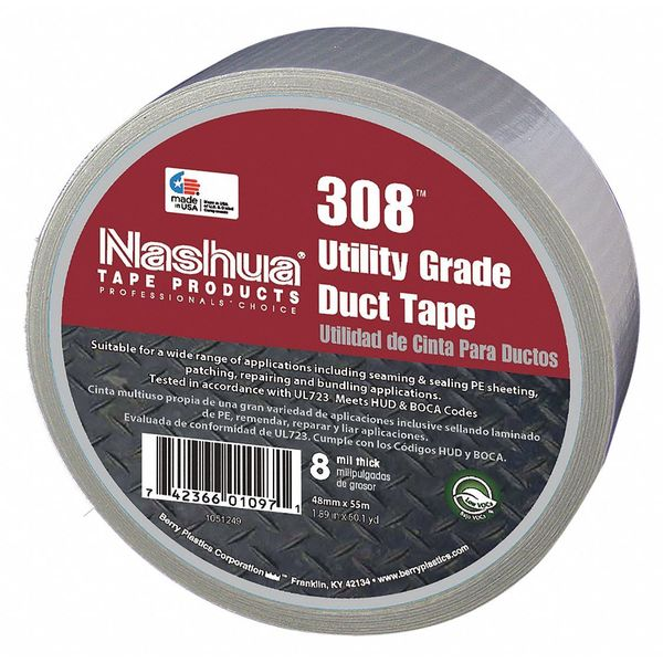 Nashua Duct Tape, 48mm W, 55m L, Industrial, Gray 308