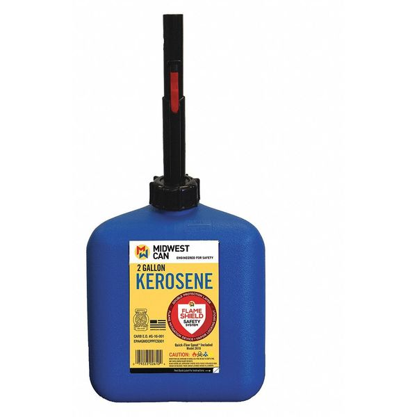 Flame Shield Kerosene Can, 2 gal., Self, Blue, HDPE 2610