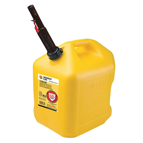 Flame Shield Diesel Fuel Can, 5 gal., Self, Yellow, HDPE 8610