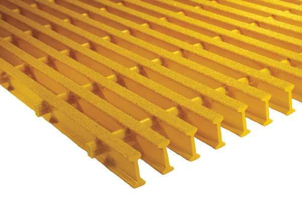 Safe-T-Span Industrial Pultruded Grating,  48 in Span,  Grit-Top Surface,  ISOFR Resin,  Yellow 872410