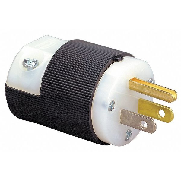 Hubbell Wiring Device-Kellems Straight Blade Plug,  Male,  Straight,  2-Pole 3- Wire,  15A125V,  5-15P HBL5266C