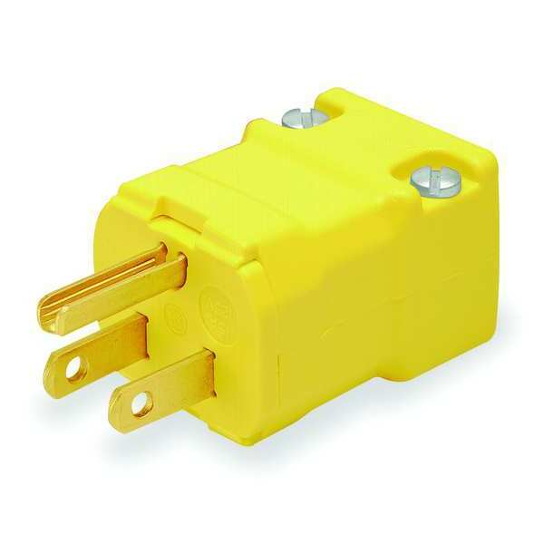 Hubbell Wiring Device-Kellems Straight Blade Plug,  Male,  Straight,  2-Pole 3-Wire,  15A 125V,  5-15P HBL5965VY