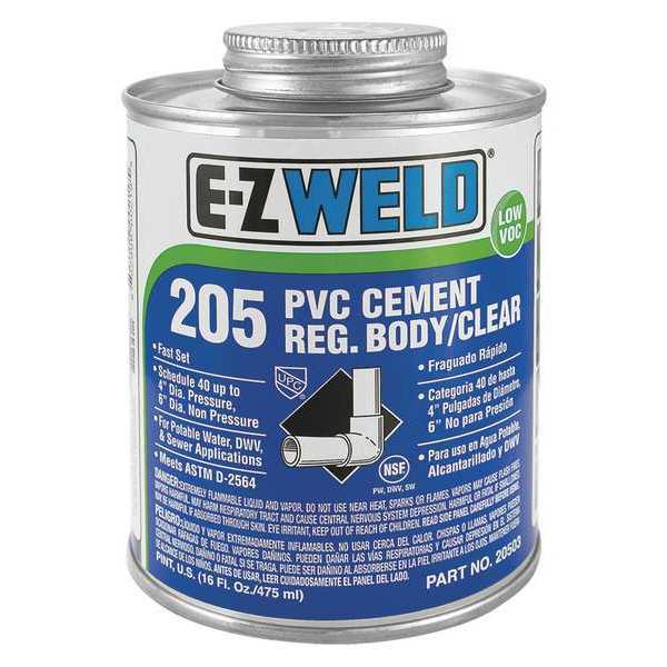 Ez Weld Cement, 8 Oz, Clear, PVC, Low VOC 20502