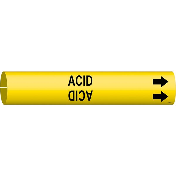 Brady Pipe Marker, Acid, Yellow, 3/4 to 1-3/8 In 4000-A