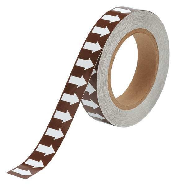 Brady Arrow Tape, White/Brown, 1 In. W 109928