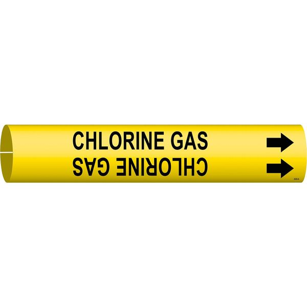 Brady Pipe Marker, Chlorine Gas, Y, 3/4to1-3/8 In 4026-A