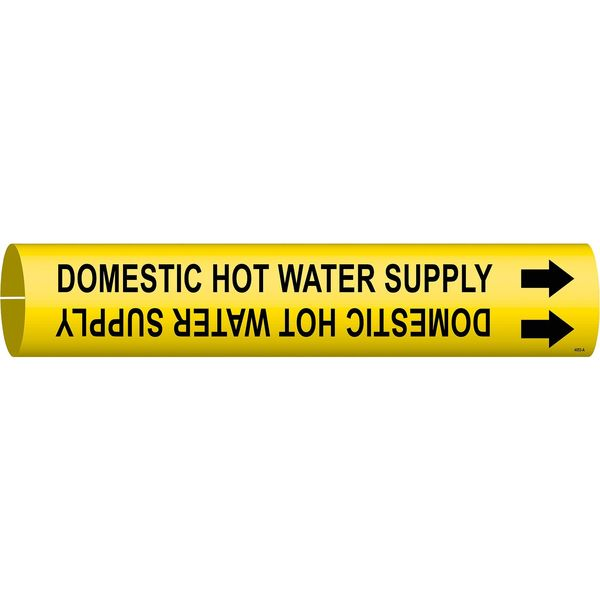 Brady Pipe Marker, Domestic Hot Water Supply, Y 4053-A