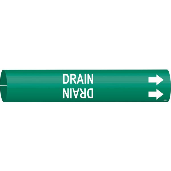 Brady Pipe Marker, Drain, Green, 3/4 to 1-3/8 In 4055-A