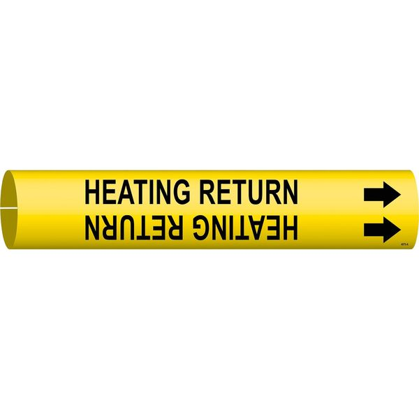 Brady Pipe Marker, Heating Return, 3/4to1-3/8 In 4070-A