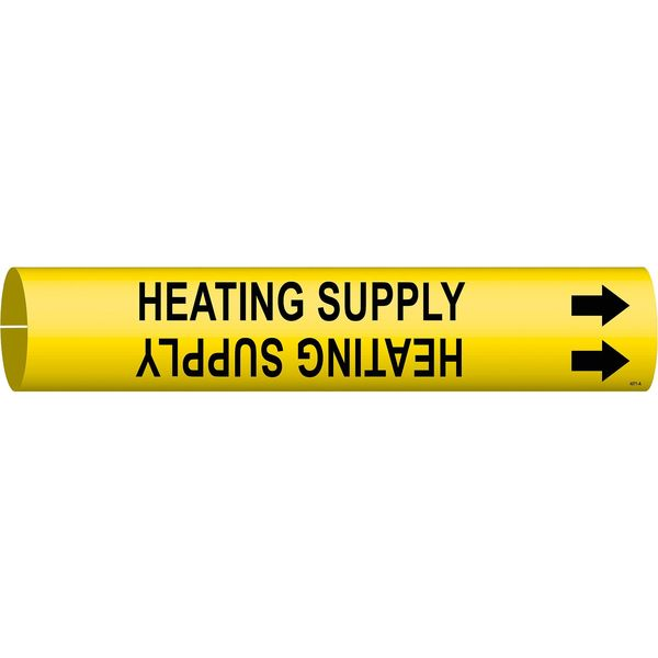 Brady Pipe Marker, Heating Supply, 3/4to1-3/8 In 4071-A