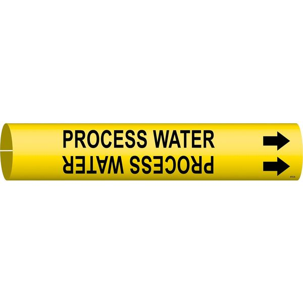Brady Pipe Markr, Process Water, Y, 3/4to1-3/8 In 4112-A