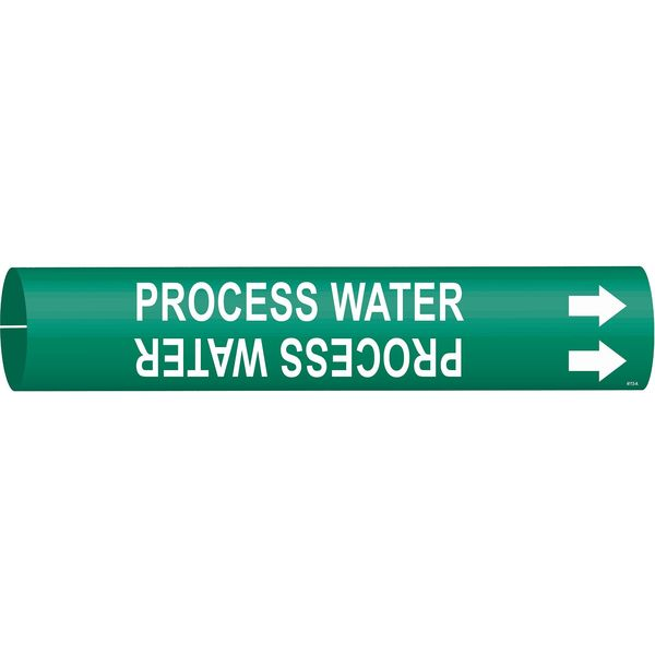 Brady Pipe Marker, Process Water, 3/4to1-3/8 In 4113-A