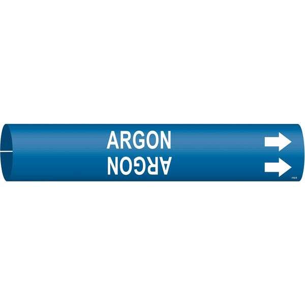 Brady Pipe Marker, Argon, Blue, 1-1/2 to 2-3/8 In 4162-B