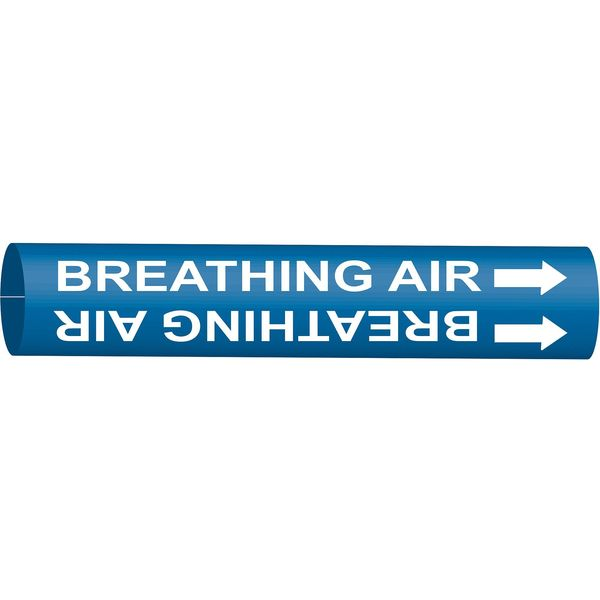 Brady Pipe Marker, Breathing Air, Bl, 8to9-7/8 In 4302-G