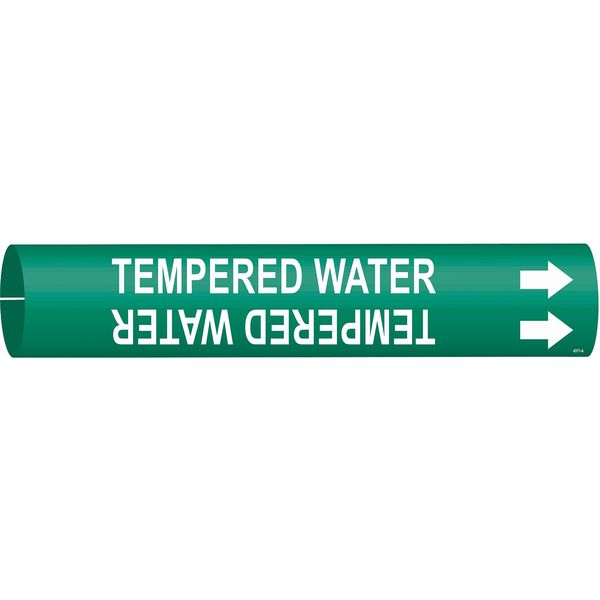 Brady Pipe Marker, Tempered Water, Grn, 4 to 6 In 4371-D
