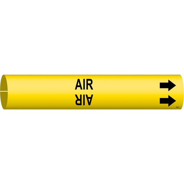 Brady Pipe Marker, Air, Yellow, 2-1/2 to 3-7/8 In 4003-C