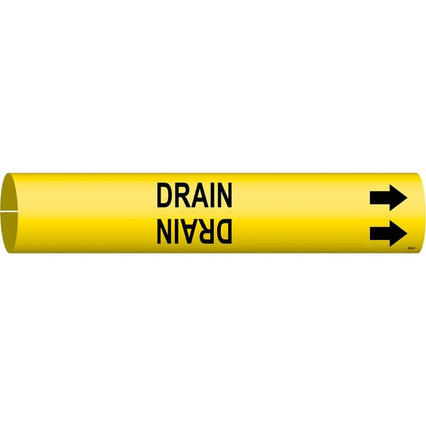 Brady Pipe Marker, Drain, Yellow, 4 to 6 In 4054-D