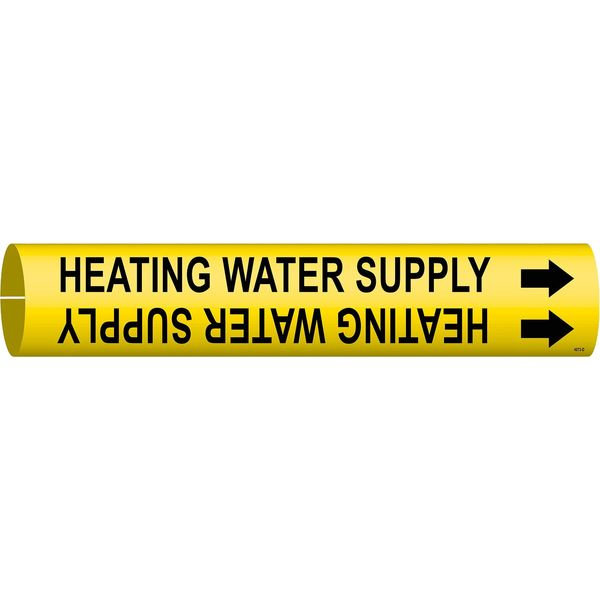 Brady Pipe Marker, Heating Water Supply, 4to6 In 4073-D