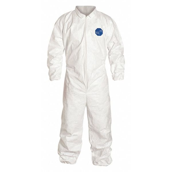 Dupont Collared Disposable Coveralls ,  L ,  White ,  Tyvek(R) 400 ,  zipper TY125SWHLG0025NF