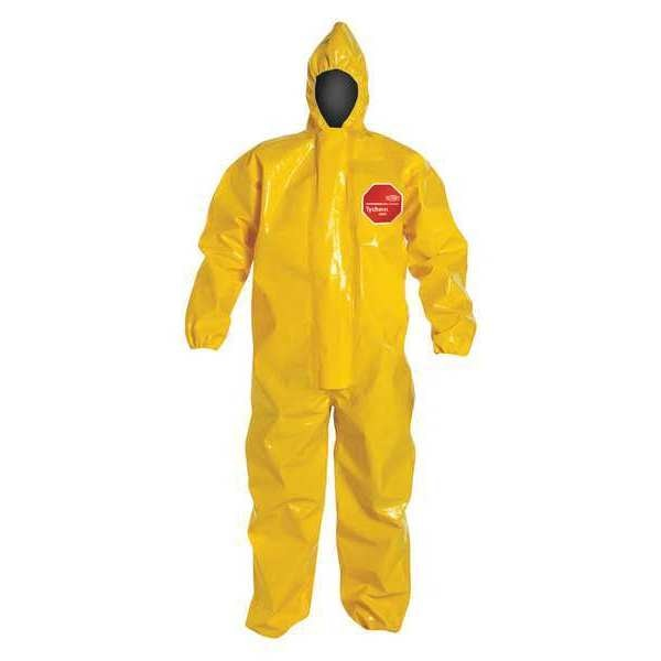 Dupont Hooded Chemical Resistant Coveralls ,  Xl ,  Yellow ,  Tychem(R) 9000 ,  BR127TYLXL000200