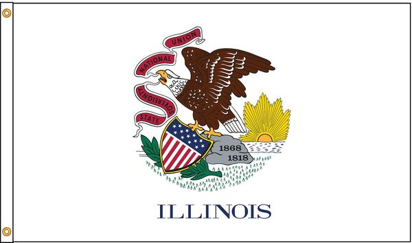 Nylglo Illinois Flag, 5x8 Ft, Nylon 141480