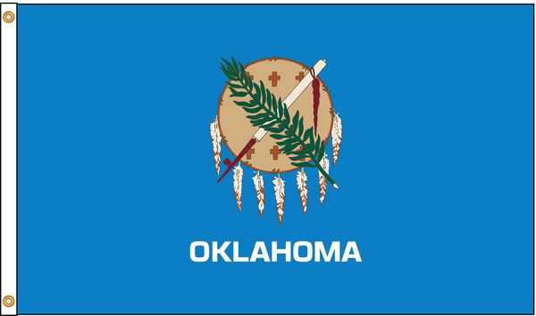 Nylglo Oklahoma Flag, 5x8 Ft, Nylon 144380