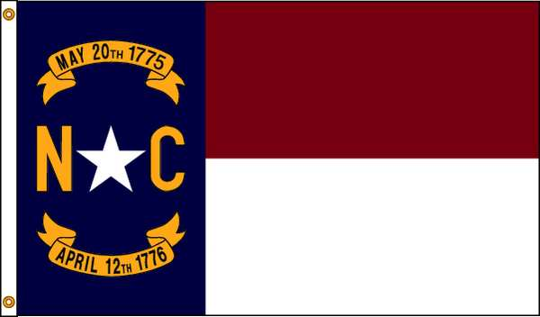Nylglo North Carolina Flag, 5x8 Ft, Nylon 143980