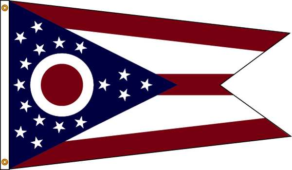 Nylglo Ohio Flag, 5x8 Ft, Nylon 144280