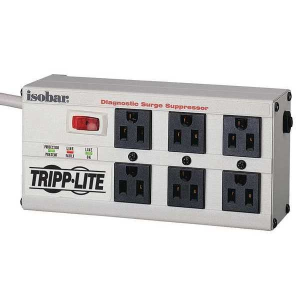 Tripp Lite Surge Protector Strip, 6 Outlet, Gray ISOBAR 6 ULTRA