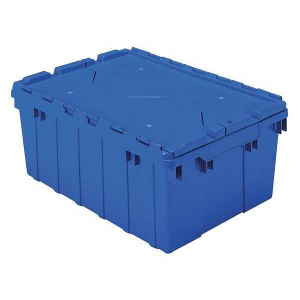 Akro-Mils Attached Lid Container,  1.12 cu. ft.,  Blue 39085BLUE