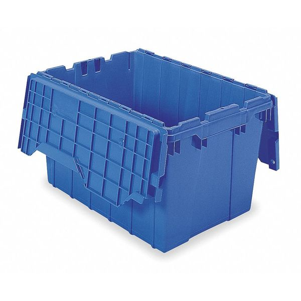 Akro-Mils Attached Lid Container,  1.62 cu. ft.,  Blue 39120BLUE