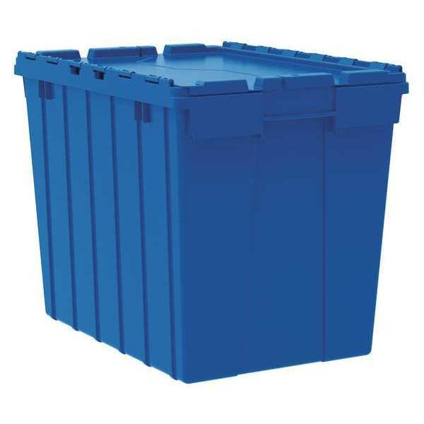 Akro-Mils Attached Lid Container,  2.28 cu. ft.,  Blue 39170BLUE